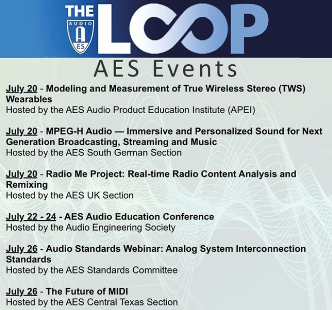 Coming Up in AES Events - Make Plans to Join Us!